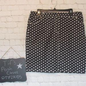 Dress Barn Polka Dot Cotton Skirt Sz 14 D23